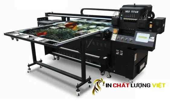 Máy in UV hybrid - UV hybrid printer - IN bạt không gân phủ UV