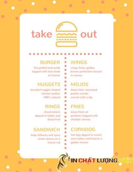 Mẫu menu với thiết kế đơn giản,dễ đọc, tạo hiệu quả cao