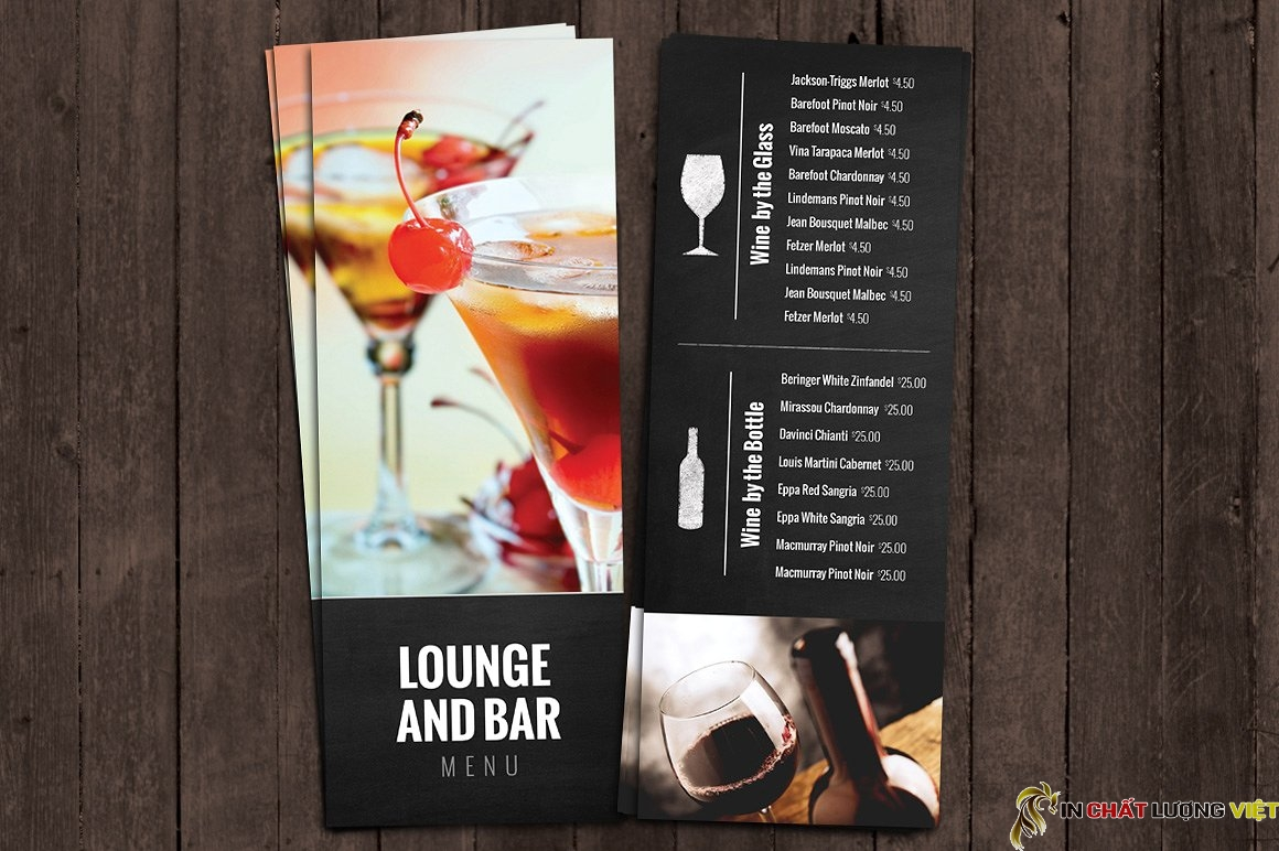 Một quán bar với nhiều loại thức uống cũng cần một tấm menu đẹp và chất lượng