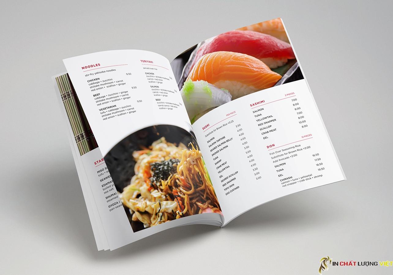 Với một nhà hàng có nhiều món ăn thì việc in menu đóng cuốn là rất thích hợp