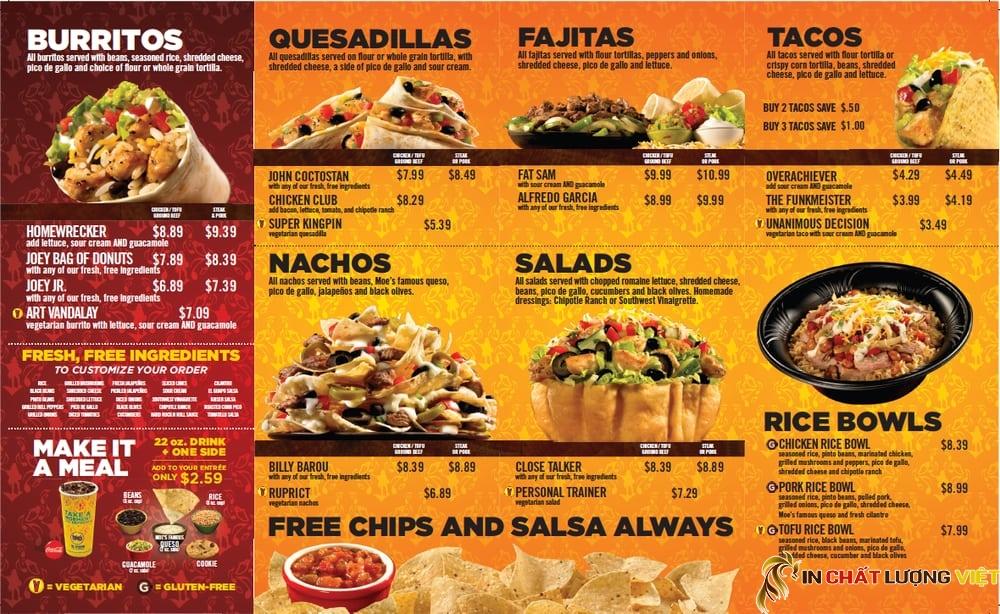 Những cửa hàng thức ăn nhanh cần có menu với màu sắc đẹp, thu hút và thiết kế tốt