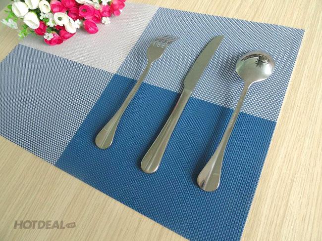 tấm lót bàn ăn xanh dương