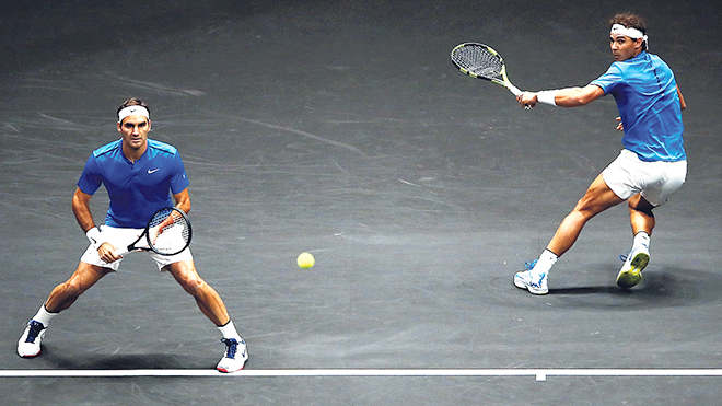 Roger Federer and Rafael Nadal of Team Europe in action during there doubles match against Jack Sock and Sam Querrey of Team World on Day 2 of the Laver Cup on September 23, 2017 in Prague, Czech Republic. The Laver Cup consists of six European players competing against their counterparts from the rest of the World. Europe will be captained by Bjorn Borg and John McEnroe will captain the Rest of the World team. The event runs from 22-24 September. (Photo by Clive Brunskill/Getty Images for Laver Cup)